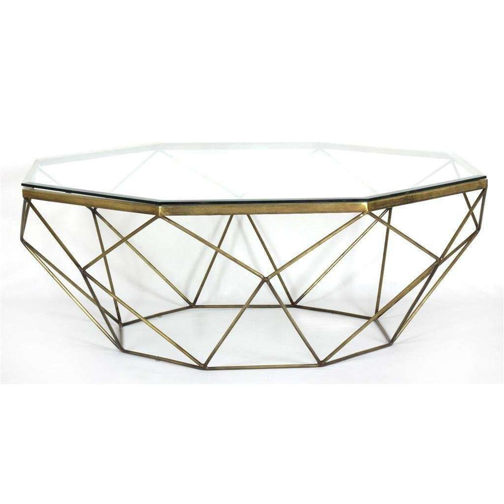 Marlow Geometric Coffee Table-Antique Brass