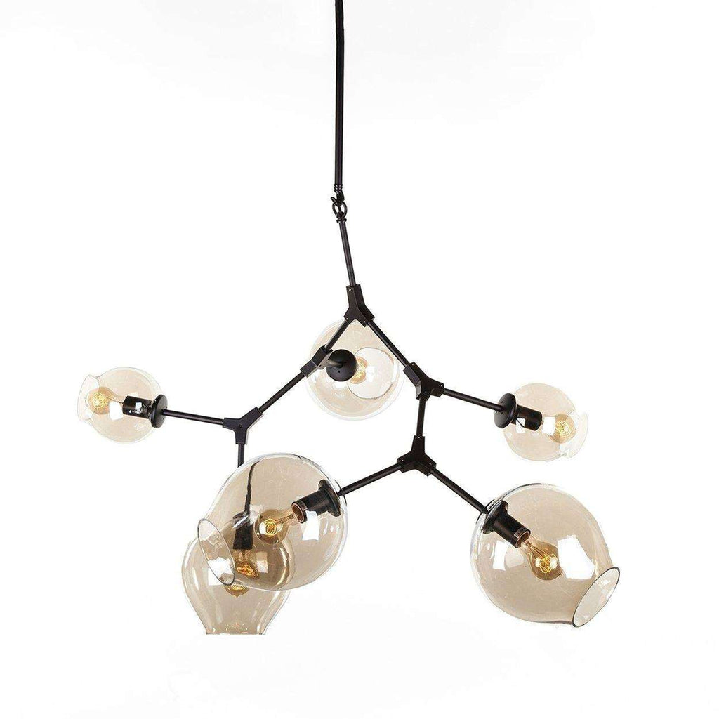Modern Six Globe Branching Ceiling Lamp - Black