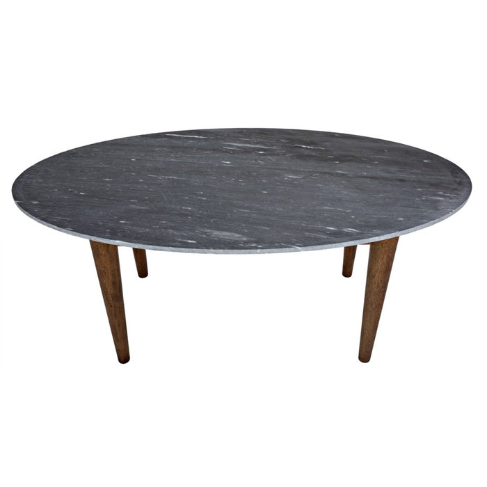 Surf Oval Dining Table with Stone Top