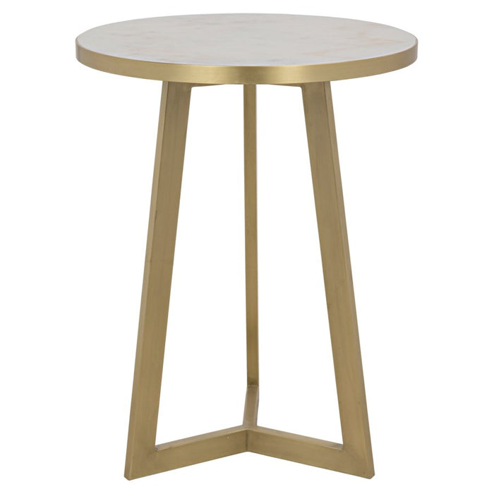 Loriot Side Table, Antique Brass, Metal and White Stone