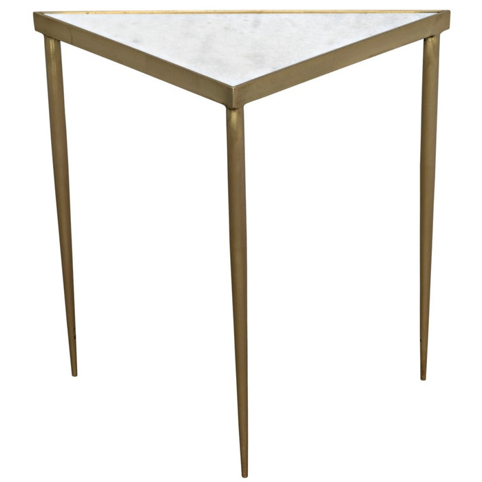 Comet Triangle Side Table, Large, Stone, Metal with Brass Finish