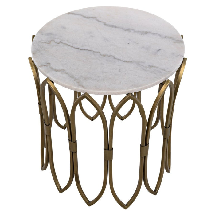 Nola Side Table, Metal W/Brass Finish
