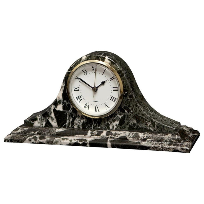 Saturn Collection Black Zebra Marble Mantle clock