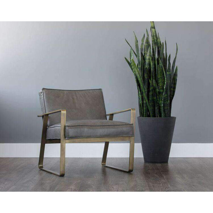 Kristoffer Lounge Chair - Antique Brass
