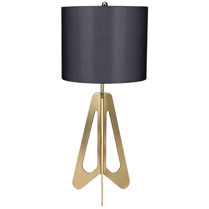 Candis Lamp with Black Shade, Antique Brass
