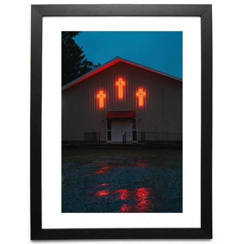 Church with Neon Crosses - Limited Edition Framed Print