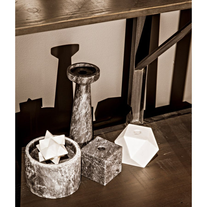 Cube Decorative Candle Holder, Set of 4, Black Marble