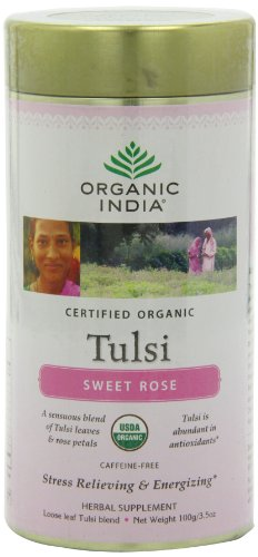 Organic India Tulsi Tea, Loose Leaf, Sweet Rose, 3.5 Ounce