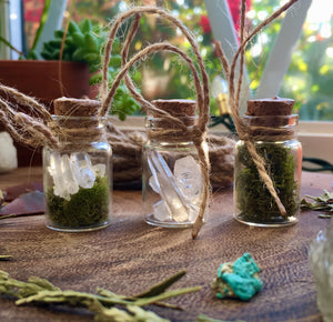 crystal + moss jar ornaments (set of 3)
