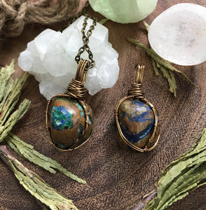 earthy magic chrysocolla + malachite