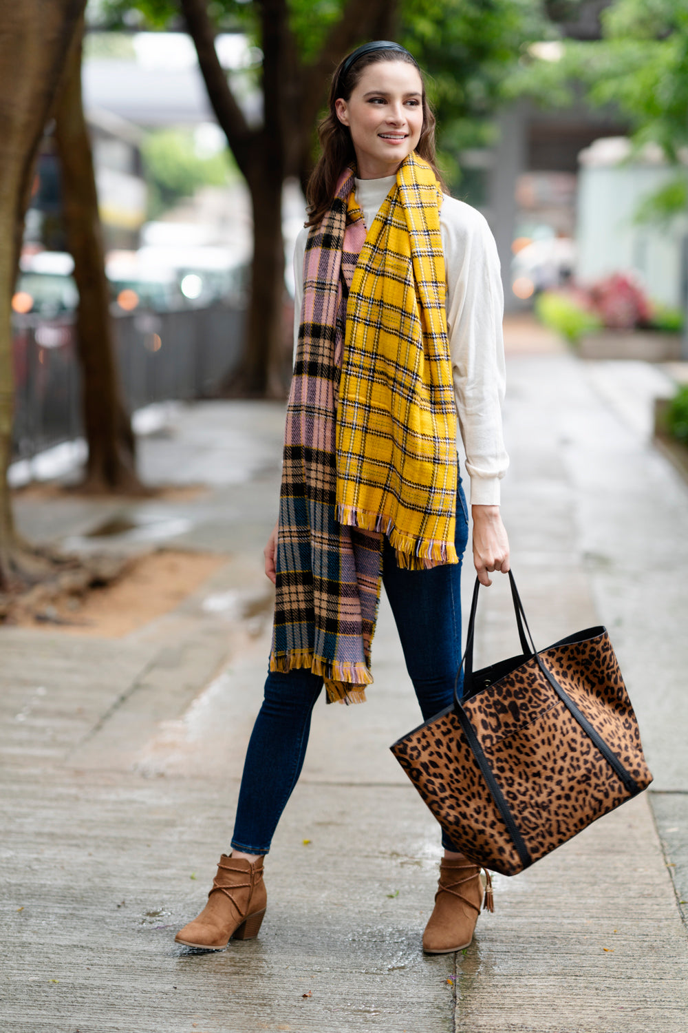Fresh for Fall: Leopard Print Purses and Fluffy Fall Scarves.
