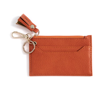CECE CARD CASE WITH KEY CHAIN,COGNAC