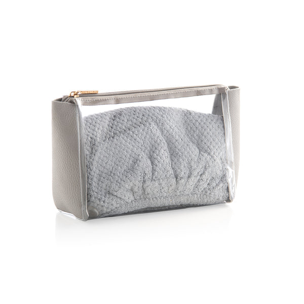 Eden Hair Towel And Zip Pouch Set,Grey