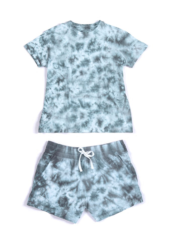 Jamie Tie Dye T-Shirt And Shorts Set, Grey