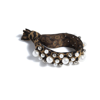 PEARL PONY TAIL HOLDER,LEOPARD