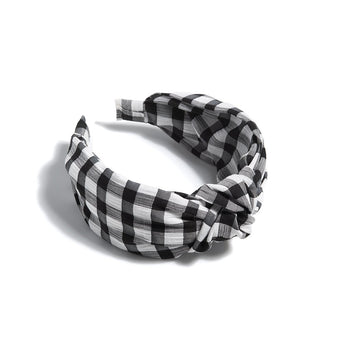 Knotted Gingham Plaid Headband, Black, Knotted Gingham Plaid Headband, Black