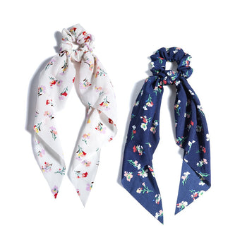 ASSORTED SET OF 2 FLORAL SCARF PONYS,MULTI
