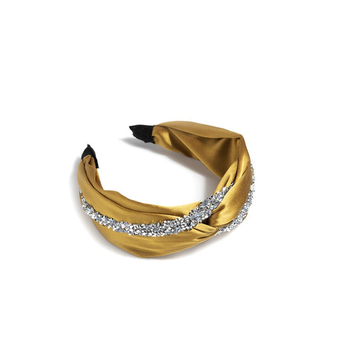 EMBELLISHED KNOTTED HEADBAND,GOLD