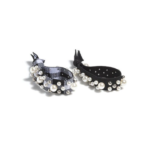 ASSORTED SET OF 2 PEARL PONY TAIL HOLDERS,BLACK, Assorted Set Of 2 Pearl Pony Tail Holders,Black