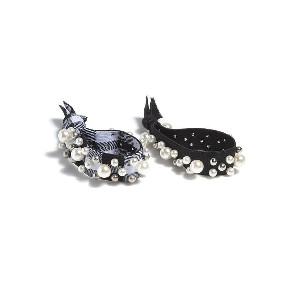 Assorted Set Of 2 Pearl Pony Tail Holders,Black