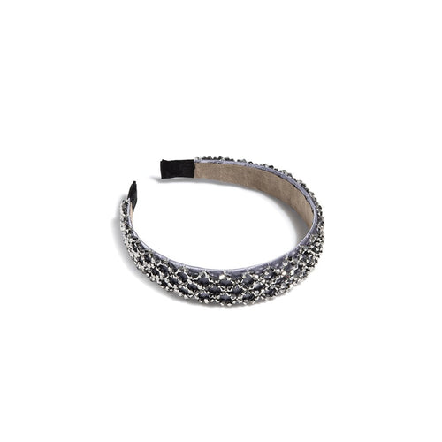 WIDE CRYSTAL EMBELLISHED HEADBAND,GREY