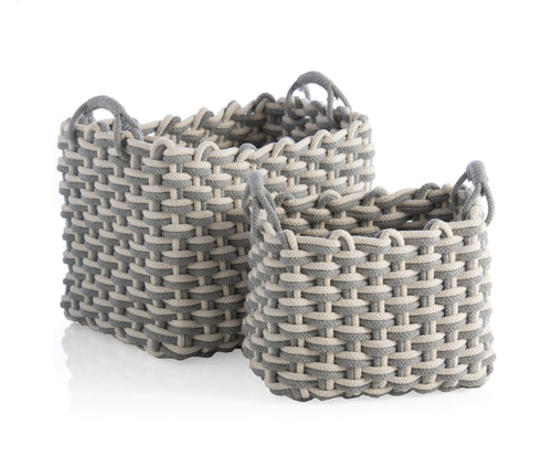 Assorted Set Of 2 Rectangle Dharma Baskets, Grey
