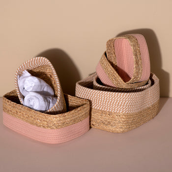Assorted set of 3 Dalton Organizer Baskets, Blush