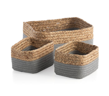 Assorted Set Of 3 Dalton Organizer Baskets, Grey