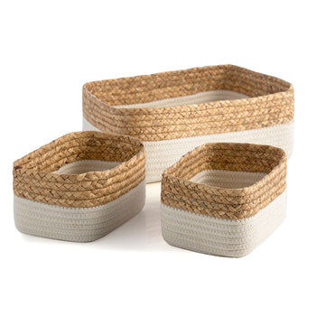 Assorted Set Of 3 Dalton Organizer Baskets, Ivory