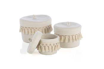 Assorted Set Of 3 Round Dharma Organizer Baskets, Assorted Set Of 3 Round Dharma Organizer Baskets, Ivory