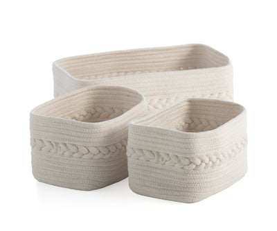 Assorted Set Of 3 Dharma Organizer Baskets, Ivory
