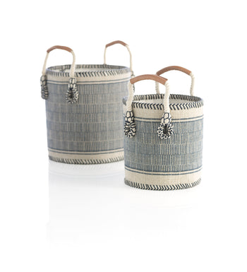 ASSORTED SET OF 2 SIERRA PLANTER BASKETS,BLUE, Assorted Set Of 2 Sierra Planter Baskets,Blue