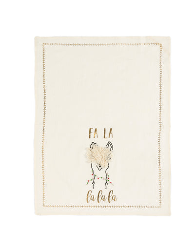 """FA LA LA LA"" TEA TOWEL AND COOKIE CUTTER GIFT SET, IVORY"