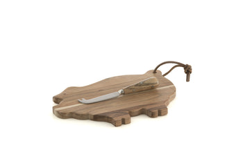 Piggy Platter And Cheese Knife Set, Natural