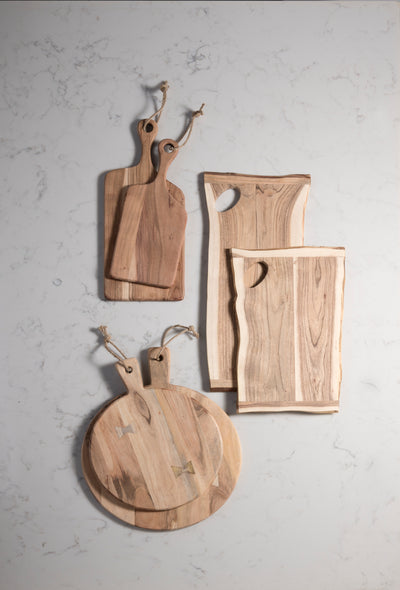SET OF 2 ASSORTED MONTANA FREE FORM CUTTING BOARDS, NATURAL