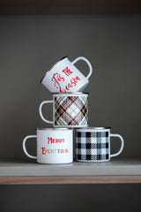 Buffalo Plaid Enamel Mug,Black