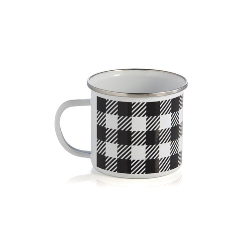 BUFFALO PLAID ENAMEL MUG,BLACK, Buffalo Plaid Enamel Mug,Black