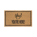 """Yay! You'Re Here"" Doormat, Natural, ""Yay! You'Re Here"" Doormat, Natural"