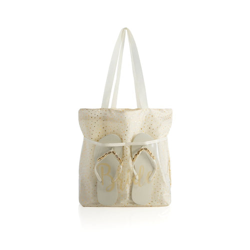 BRIDE TOTE AND FLIP-FLOP SET, S/M,IVORY