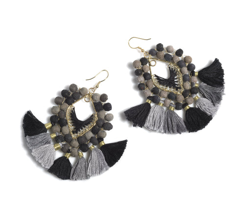 Amy Tassel Earrings, Black