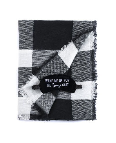 """Wake Me Up For The Booze Cart"" Blanket Scarf And Eye Mask Set, Black"