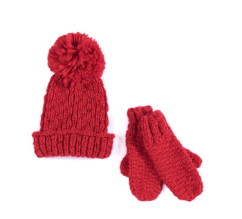 Joy Hat And Mitten Set, Red, Joy Hat And Mitten Set, Red
