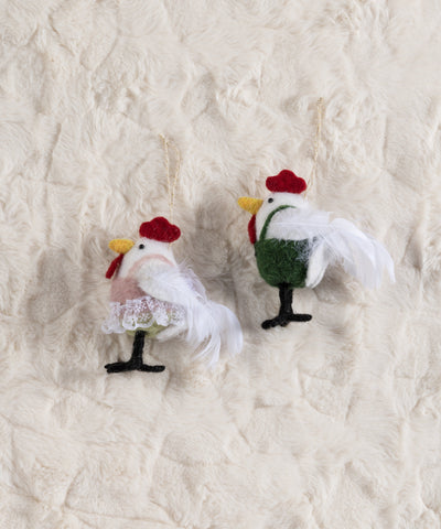 Set/ 2 Rooster And Hen Ornaments, Multi