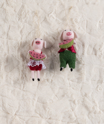 Set/ 2 Watermelon Pigs Ornament, Multi