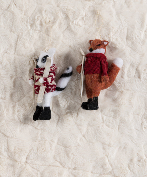 Set/2 Fox And Racoon Ornaments, Multi