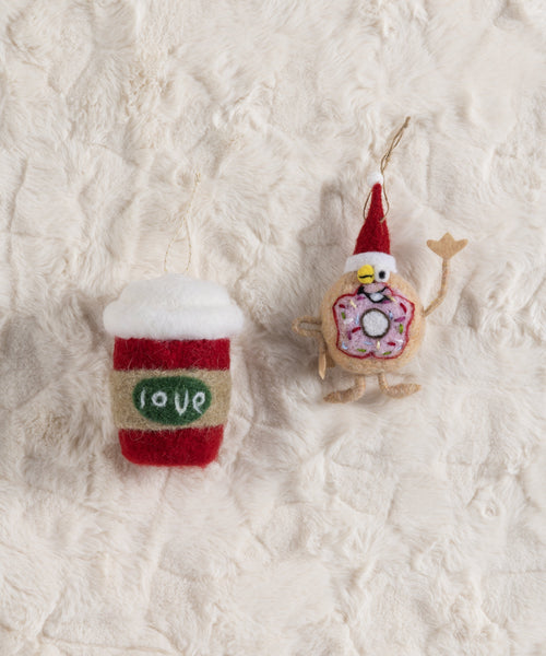 Set/ 2 Coffee And Donut Ornaments, Multi