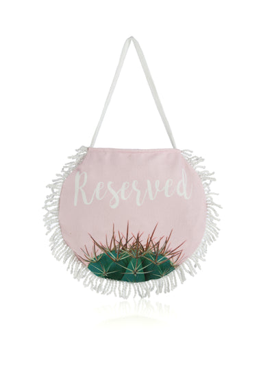 RESERVED ROUND BEACH TOWEL WITH BAG, BLUSH