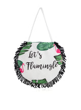 LET'S FLAMINGLE ROUND BEACH TOWEL WITH BAG, MULTI