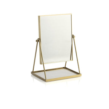 WALLACE TABLE MIRROR WITH DISPLAY TRAY,GOLD