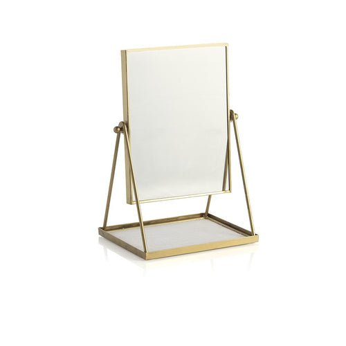 WALLACE TABLE MIRROR WITH DISPLAY TRAY,GOLD, Wallace Table Mirror With Display Tray,Gold